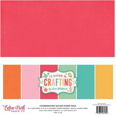 Echo Park I'd Rather Be Crafting Cardstock - Solids Kit