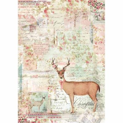 Stamperia Rice Paper A4 - Pink Christmas Reindeer