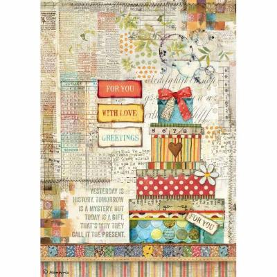 Stamperia Rice Paper A4 - Patchwork Gift