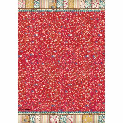 Stamperia Rice Paper A4  Patchwork Texture Red Background