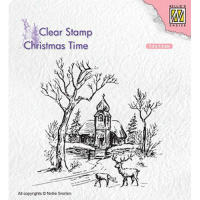 Nellies Choice Clear Stamp - Kirche & Rentier