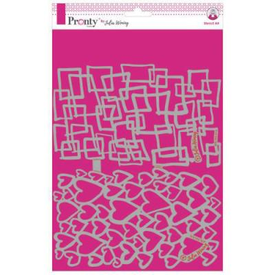 Pronty Mask Stencil - Hearts & Squares Circles