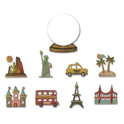 Sizzix - Thinlits Stanzschablonen - Tiny Travel Globe