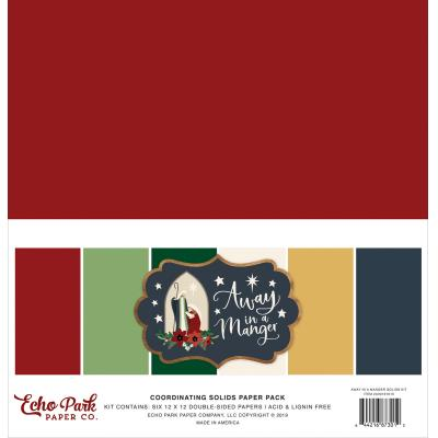 Echo Park Away In A Manger Cardstock - Solids Kit